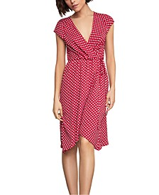 Polka-Dot Faux-Wrap Dress