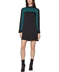 Colorblocked Mock-Neck Dress