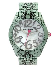 Women's Snake Print Silver-Tone Snake Printed Bracelet Watch 42mm