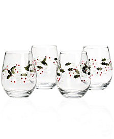 Pfaltzgraff Set of 4 Winterberry Stemless Wine Glasses