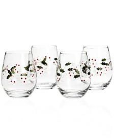 Pfaltzgraff Winterberry Stemless Wine Glass, Set of 4