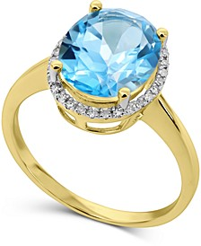 Blue Topaz (3-3/4 ct. t.w.) & Diamond (1/8 ct. t.w.) Halo Ring in 14k Gold
