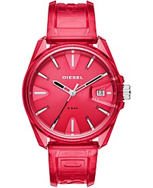 Unisex MS9 Red Transparent Polyurethane Strap Watch 44mm