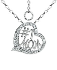"Cubic Zirconia Heart Pendant Necklace in Sterling Silver, 16"" + 2"" extender, Created for Macy's"
