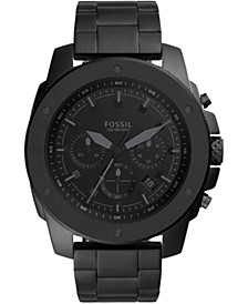 Men's Chronograph Mega Machine Black Stainless Steel Bracelet Watch 50mm