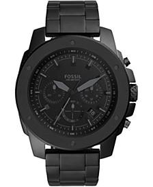 Men's Chronograph Mega Machine Black Stainless Steel Bracelet Watch 50mm