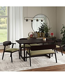 Millie 6 Piece Mid Century Modern Rectangular Espresso Wood Dining Table with Arm Bench and Arm Chairs