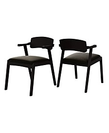 Millie Mid Century Modern Espresso Dining Arm Chair with Wood Seat Back Set of 2