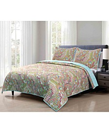 3 Piece Soft and Lightweight Microfiber Full/Queen Quilt Set