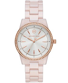 Ritz Three-Hand Pink Ceramic Watch