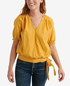 Textured Side-Tie Wrap Top