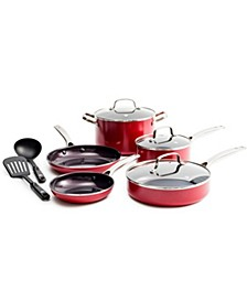 Red Diamond Ceramic Nonstick 10-Pc. Cookware Set