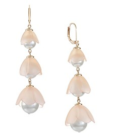 Gold-Tone Imitation Pearl Resin Linear Earring