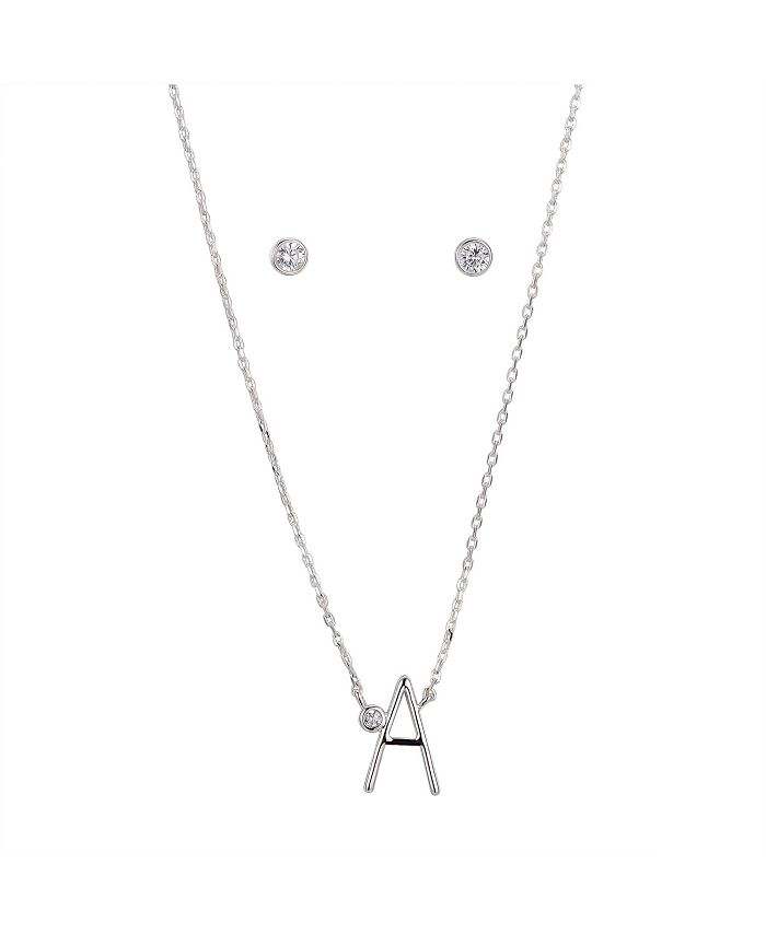 Unwritten - Fine Silver Plated Letter Initial Necklace with Cubic Zirconia Stud Earrings