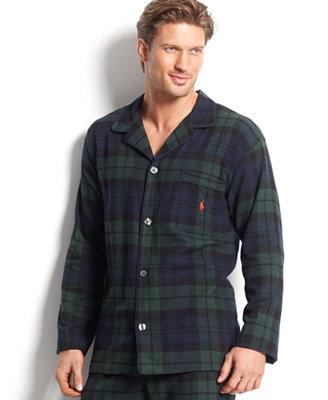 Polo Ralph Lauren Men S Plaid Flannel Pajama Top Pajamas