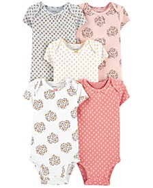 Baby Girls 5-Pack Printed Cotton Bodysuits