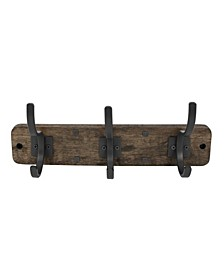 Richmond Wall Mount 3-Hook Wood Rack