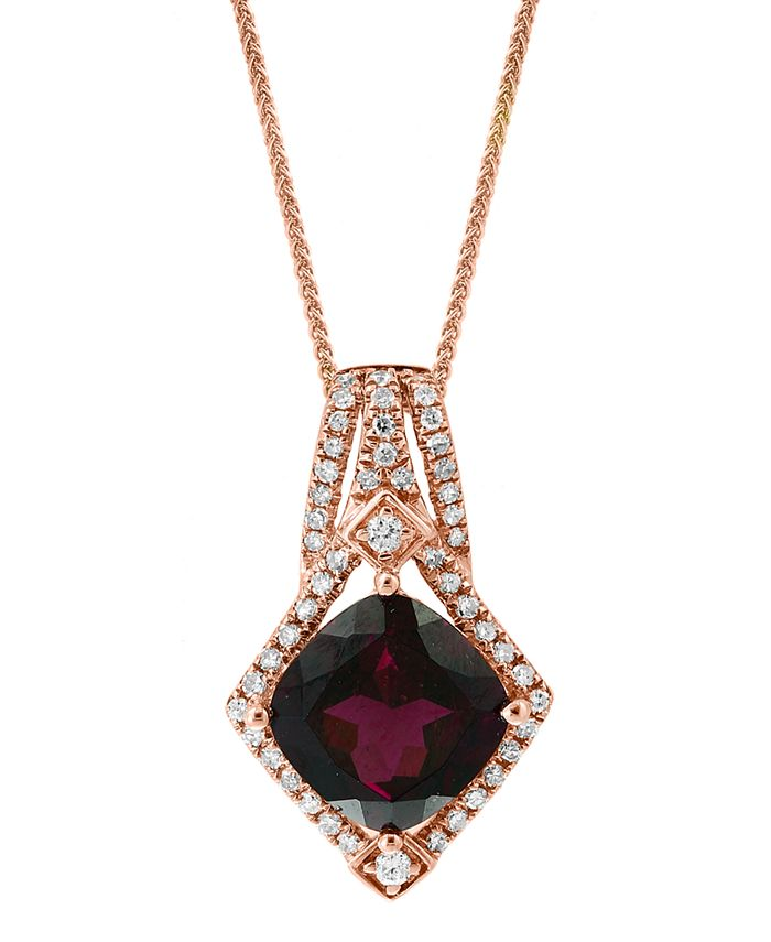"""LALI Jewels - Rhodolite (2-7/8 ct. t.w.) & Diamond (1/5 ct. t.w.) 18"""" Pendant Necklace in 14k Rose Gold"""