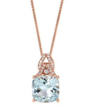 """Aquamarine (3-1/2 ct. t.w.) & Diamond (1/8 ct. t.w.) 18"""" Pendant Necklace in 14k Rose Gold"""