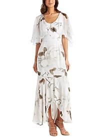 Petite Floral-Print Capelet Gown