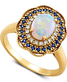Multi-Gemstone (1-1/5 ct. t.w.) & Diamond (1/10 ct. t.w.) Halo Ring  in 14k Gold