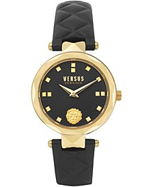 Women's Covent Garden Petite Black Leather Strap Watch 32mm