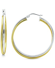 Medium Two-Tone Twist Hoop Earrings in Sterling Silver & 18k Gold Plated Sterling Silver, 35mm, Created for Macy's