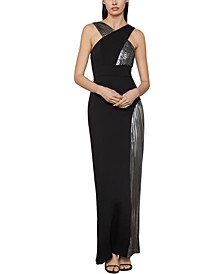 Metallic Crepe Gown