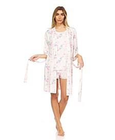 Flora Women's Floral Printed 3pc Travel Pajama Set