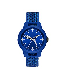 Reset V1 Three-Hand Reversible Blue Knit Watch 43mm