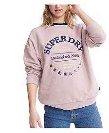 Applique Serif Crew Sweatshirt