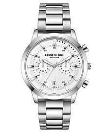 Men's Multifunction Dual Time Silver-tone Stainless Steel Watch on Silver-tone Stainless Steel Bracelet, 44mm