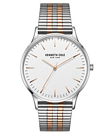 Men's 3 Hands Silver-tone Stainless Steel Watch on Two-tone Stainless Steel Mesh Bracelet, 40mm