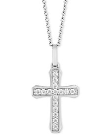 "Cross Blessings pendant (1/4 ct. t.w.) in Sterling Silver, 16"" + 2"" extender"