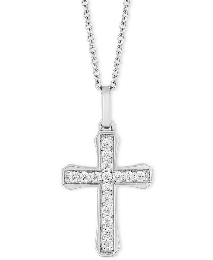 "Hallmark Diamonds - Diamond Cross Pendant Necklace (1/4 ct. t.w.) in Sterling Silver, 16"" + 2"" extender"