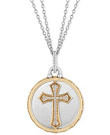 """Cross Disc Double Chain Blessings pendant (1/10 ct. t.w.) in Sterling Silver & 14k Gold, 16"""" + 2"""" extender"""