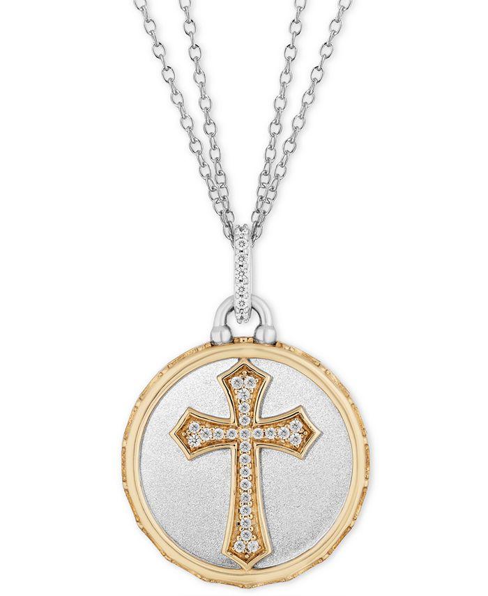 "Hallmark Diamonds - Diamond Cross Disc Double Chain Pendant Necklace (1/10 ct. t.w.) in Sterling Silver & 14k Gold, 16"" + 2"" extender"