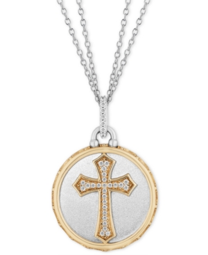 Cross Disc Double Chain Blessings pendant (1/10 ct. t.w.) in Sterling Silver & 14k Gold