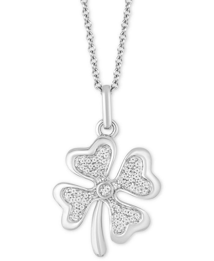 "Hallmark Diamonds - Diamond Clover Pendant Necklace (1/10 ct. t.w.) in Sterling Silver, 16"" + 2"" extender"