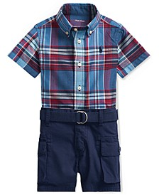 Ralph Lauren Baby Boys 3-Pc. Plaid Shirt, Belt & Shorts Set
