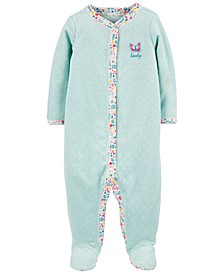 Baby Girls Cotton Pointelle Butterfly Footed Pajamas