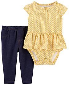Baby Girls 2-Pc. Peplum Printed Bodysuit & Denim Leggings Set