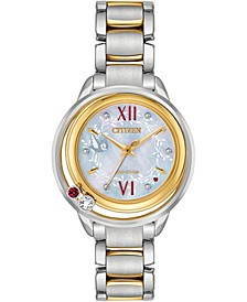 Eco-Drive Women's Snow White Diamond-Accent Two-Tone Stainless Steel Bracelet Watch 33mm