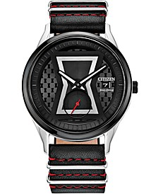 Eco-Drive Unisex Black Widow Black Leather Strap Watch 40mm