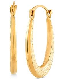 Textured Oval Hoop Earrings in 14k Gold