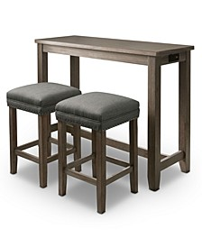 Rockland 3 Piece Counter Height Table Set with USB Plug