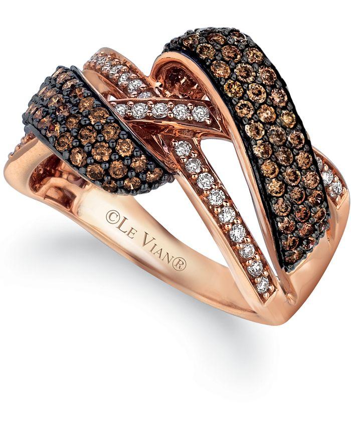 Le Vian - Chocolate Diamond (1 ct. t.w.) & Vanilla Diamond (1/5 ct. t.w.) Crossover Ring in 14k Rose Gold