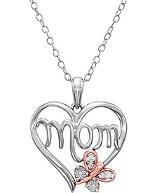 """Diamond Butterfly Mom 18"""" Pendant Necklace (1/20 ct. t.w.) in Sterling Silver & 14k Rose Gold Over Sterling Silver"""