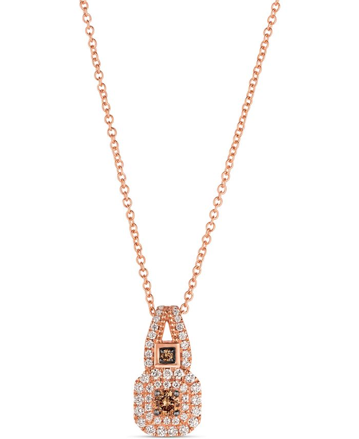 "Le Vian - Vanilla Diamond (1/4 ct. t.w.) & Chocolate Diamond (1/8 ct. t.w.) 18"" Pendant Necklace in 14k Rose Gold"