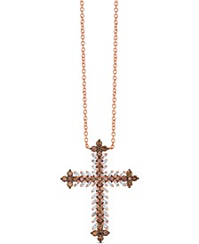 Chocolate Diamond (1-1/5 ct. t.w.) & Nude Diamond (3/8 ct. t.w.) Cross Pendant Necklace in 14k Rose Gold, 18""